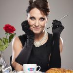 Emma Barton Poses As Holly Golightly To Raise Awareness Of Dementia Uk'S Time For A Cuppa Campaign 1
